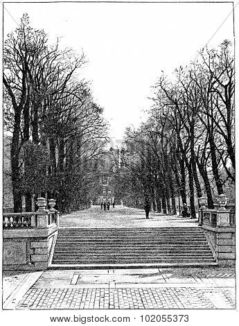 The terrace at the water's edge, vintage engraved illustration. Paris - Auguste VITU  1890.