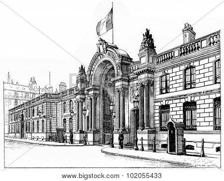 The Elysee Palace, vintage engraved illustration. Paris - Auguste VITU 1890.