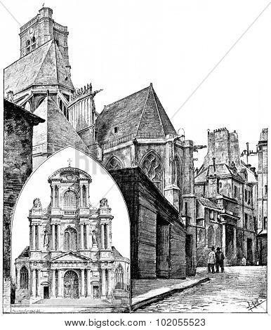 Facade of the church of Saint-Gervais and St. Protais, Apse view of the street bars, vintage engraved illustration. Paris - Auguste VITU  1890.