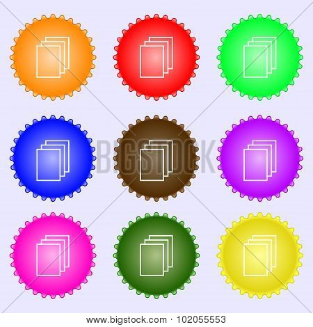 Copy File Sign Icon. Duplicate Document Symbol. A Set Of Nine Different Colored Labels. Vector