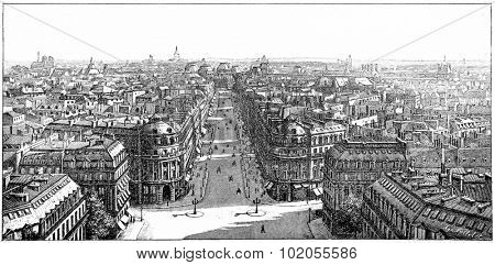 Panorama taken from the Loggia of the Opera, vintage engraved illustration. Paris - Auguste VITU  1890.