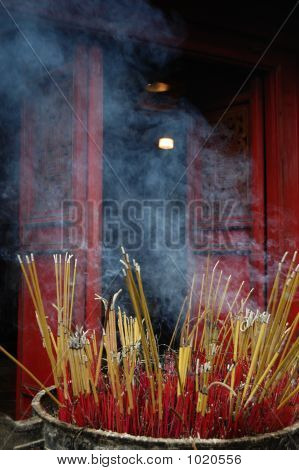 Incense Sticks Outside Of A Temple In Vietnam