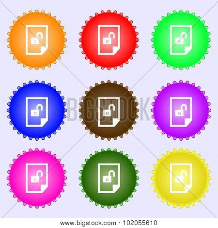 File Unlocked Icon Sign. A Set Of Nine Different Colored Labels. Vector