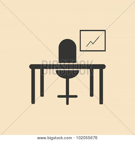 Flat in black and white table chair workplace