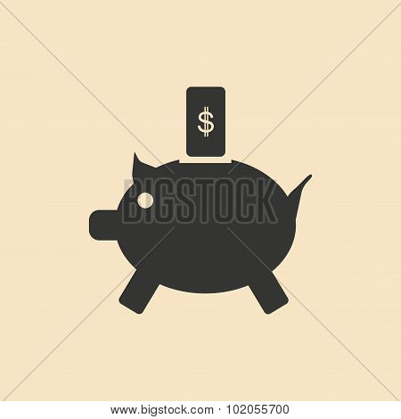 Flat in black white piggy bank and the dollar