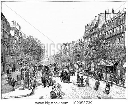 Line the main boulevards (boulevard Poissoniere), vintage engraved illustration. Paris - Auguste VITU 1890.