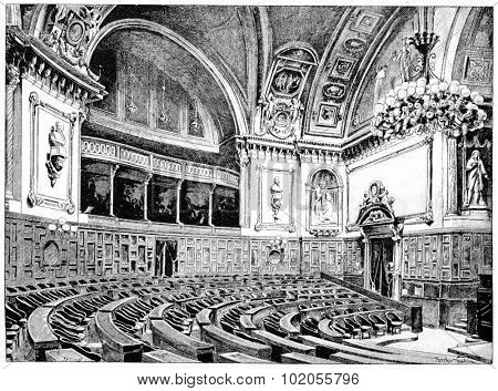Senate Chamber, vintage engraved illustration. Paris - Auguste VITU 1890.
