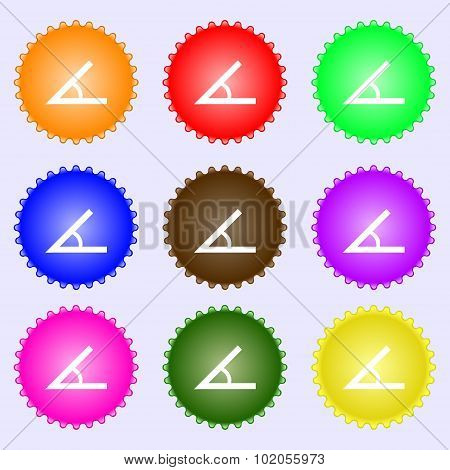 Angle 45 Degrees Icon Sign. A Set Of Nine Different Colored Labels. Vector