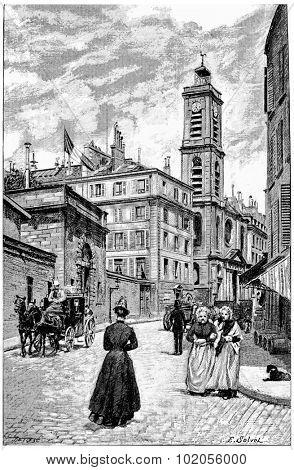 The Institution of the Deaf and Dumb and Saint-Jacques du Haut-Pas, vintage engraved illustration. Paris - Auguste VITU 1890.