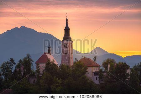 Church In Bled Lake, Slovenia At Sunrise