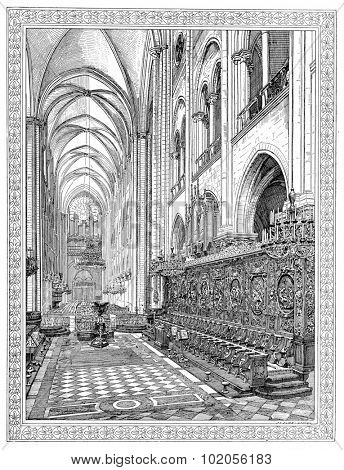 Choir of Notre-Dame de Paris, vintage engraved illustration. Paris - August 1890.