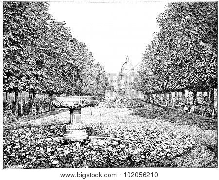 The Pantheon seen from the Luxembourg Gardens, vintage engraved illustration. Paris - August 1890.