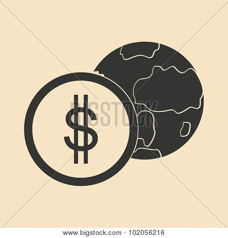 Flat in black white Earth and coin