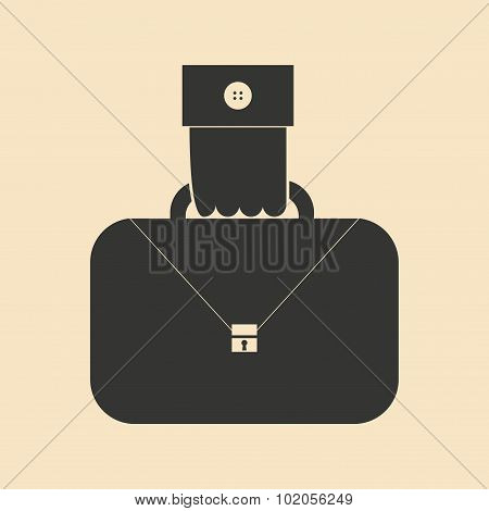 Flat in black and white hand holding case