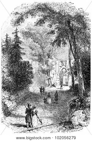 Entrance of the old castle, Baden, vintage engraved illustration. From Chemin des Ecoliers, 1861.