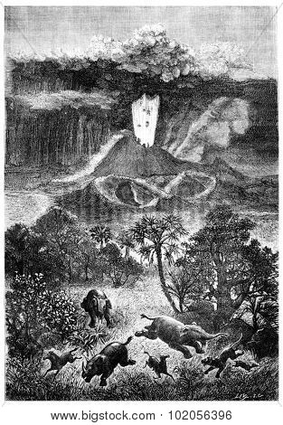The French volcanoes during the Miocene period, vintage engraved illustration. Earth before man  1886.