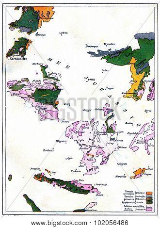 Map of gradual formation of land, vintage engraved illustration. Earth before man 1886.