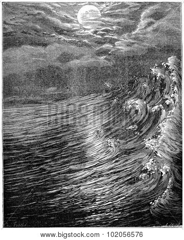 Originally. Moon is closest to the Earth still fluid produced great tides, vintage engraved illustration. Earth before man  1886.