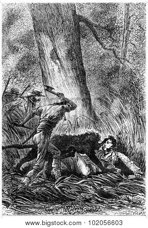 The Bushman ax in hand, vintage engraved illustration. Jules Verne 3 Russian and 3 English, 1872.