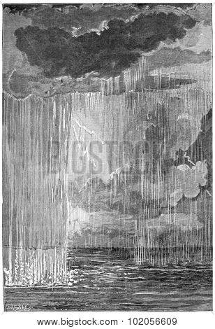 The formation of the atmosphere. First condensation water, vintage engraved illustration. Earth before man 1886.