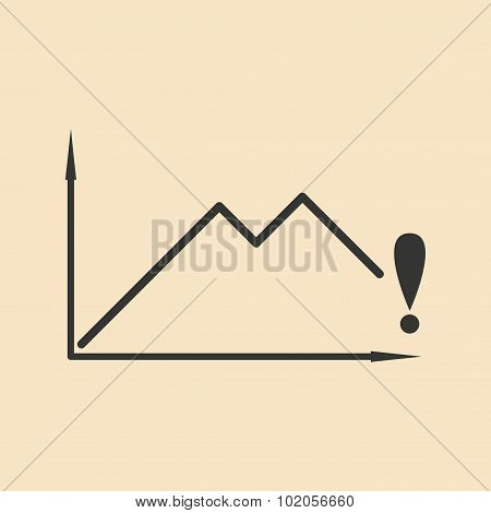 Flat in black and white falling graph