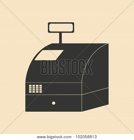 Flat in black and white cash register