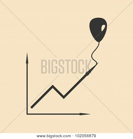 Flat in black white chart and balloon