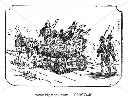 Convoy of convicts, vintage engraved illustration.