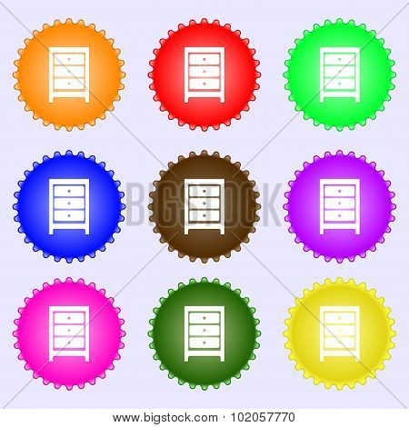Nightstand Icon Sign. A Set Of Nine Different Colored Labels. Vector