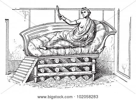 The bed of Dido, vintage engraved illustration.