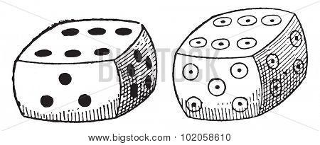 Ordinary dice, vintage engraved illustration.