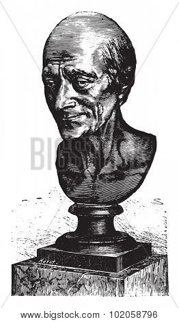 Bust of Voltaire by Houdon, vintage engraved illustration. Industrial encyclopedia E.-O. Lami - 1875.