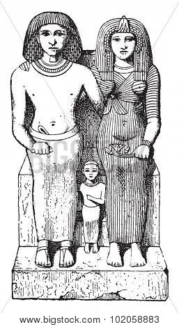Egyptian family, vintage engraved illustration.