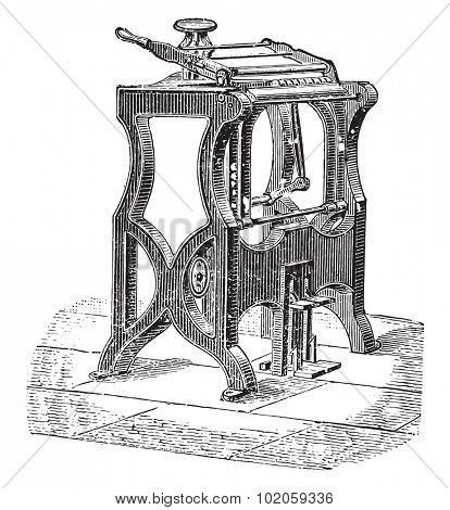 American machine to endorse, vintage engraved illustration. Industrial encyclopedia E.-O. Lami - 1875.