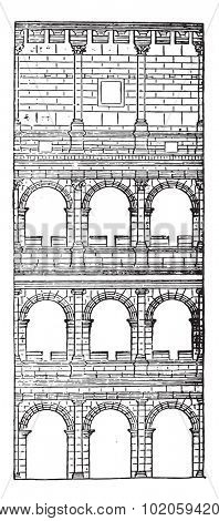 Section and elevation of the Colosseum, completed under Titus, vintage engraved illustration. Industrial encyclopedia E.-O. Lami - 1875.