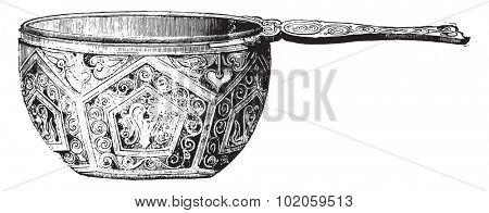 Enameled Roman vase, vintage engraved illustration. Industrial encyclopedia E.-O. Lami - 1875.