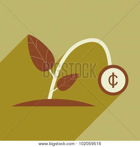 Modern flat icon with shadow money plant