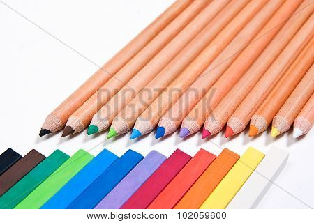 Close Up View Of Different Color Pencils And Chalk Pastels Isolated On The White Background. Color P
