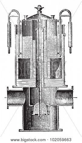 Control of emission, vintage engraved illustration. Industrial encyclopedia E.-O. Lami - 1875.