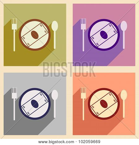 Modern collection flat icons with shadow bill on the plate