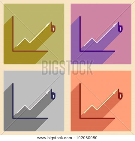 Modern collection flat icons with shadow economic graph