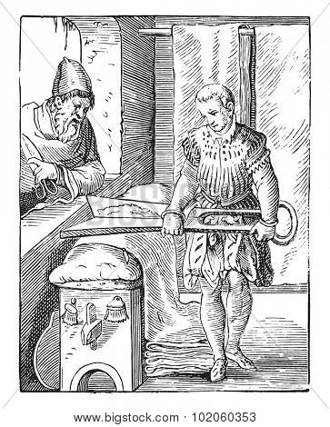 The draper in the sixteenth century, after an engraving of the time, vintage engraved illustration. Industrial encyclopedia E.-O. Lami - 1875.