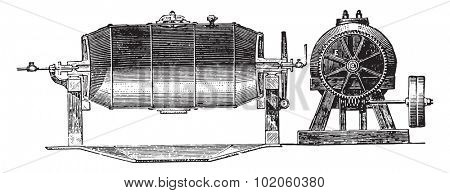 Boiler, E. Transmission by which the boiler is set in motion by means of the worm G Manhole. H steam Exhaust Valve, vintage engraved illustration. Industrial encyclopedia E.-O. Lami - 1875.