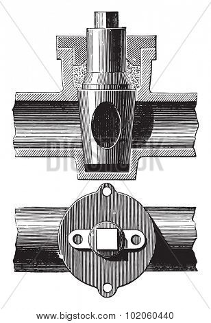 Stopcock, vintage engraved illustration. Industrial encyclopedia E.-O. Lami - 1875.