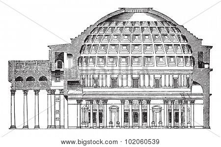 Dome of the Pantheon Cup in Rome, vintage engraved illustration. Industrial encyclopedia E.-O. Lami - 1875.