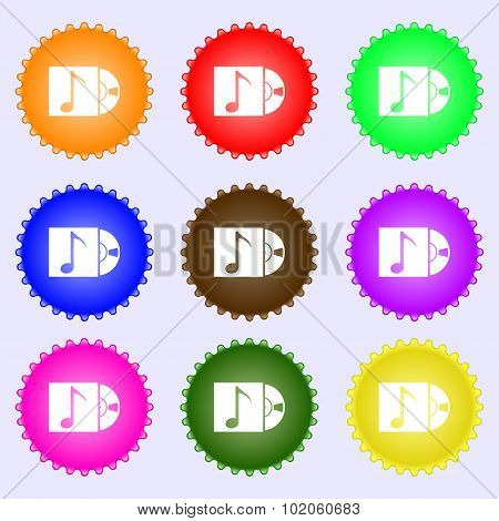 Cd Player Icon Sign. A Set Of Nine Different Colored Labels. Vector