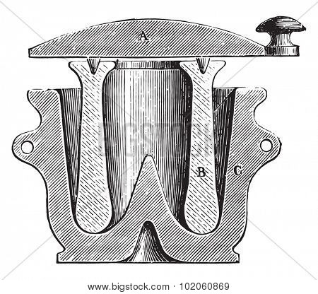Mortar, vintage engraved illustration. Industrial encyclopedia E.-O. Lami - 1875.
