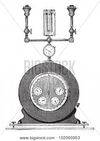 Counter experiences with test ramp and counter seconds, vintage engraved illustration. Industrial encyclopedia E.-O. Lami - 1875.