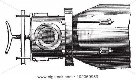 Gas retort, plan, vintage engraved illustration. Industrial encyclopedia E.-O. Lami - 1875.