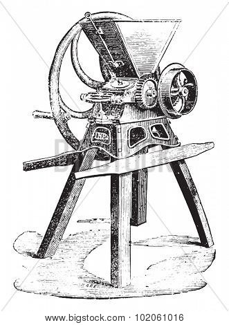 Flattener Pilter says Lenoir system, vintage engraved illustration. Industrial encyclopedia E.-O. Lami - 1875.